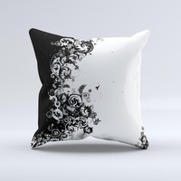 Abstract Black & White Swirls Ink-Fuzed Decorative Throw Pillow