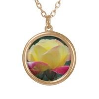 Pink and Yellow Rose Round Pendant Necklace