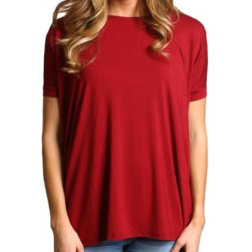 Wine Piko Short Sleeve Top
