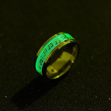 Piano Music Luminous Glow Ring Explosion musical Note Fluorescence Accessories Fashion Jewelry