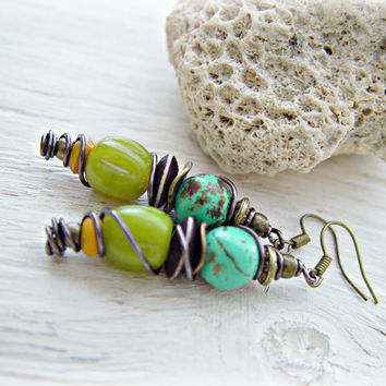 Hippie Earrings - Tribal Earrings - Boho Hippie Earrings - Boho Turquoise Earrings - Ethnic Earrings - Yoga Earrings - Boho Jewelry