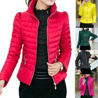 2014 Winter Jacket Women Slim Office Ladies Zippers Plus Size Coats Jaquetas = 1930232068