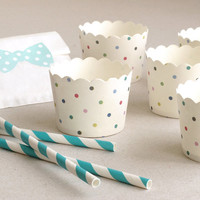 Polka Dot Baking Cups with Scalloped Tops (set of 12) - White with multicolour dots - Perfect for Baby Shower