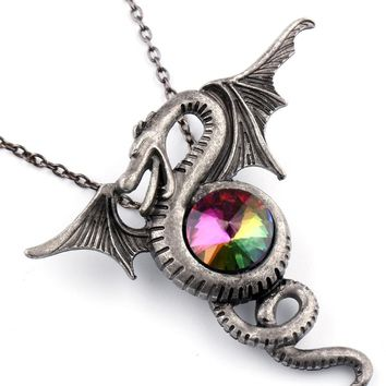 Winding Circling Fly Dragon Wings Pendent Necklace Punk Gothic Vintage Designer Crystal Necklaces Cool Jewelry