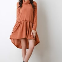 Tiered Turtleneck Long Sleeves High Low Dress