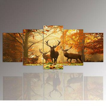 5 Panel Wall Art,The deer,Painting Pictures Print On Canvas,The Picture For Home Modern Decoration 5 pieces a set with framed