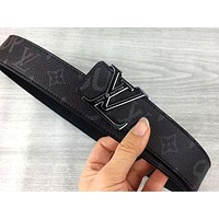 LV x Supreme co-branded men's and women's simple and simple smooth buckle belt Black