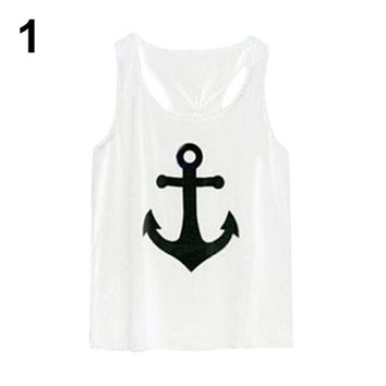 Loose Vest Casual Tank Top - Blouse Anchor Logo - Bowknot Back - White