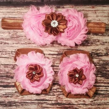Pink and Brown Headband and Barefoot Sandals Set (Cupcake Set)