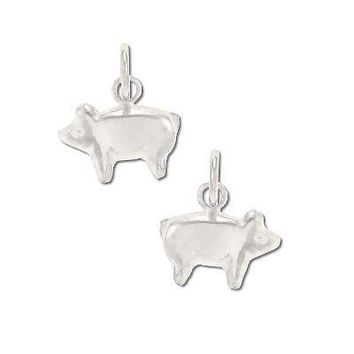 Sterling Silver Small Puffed Pig Pendant