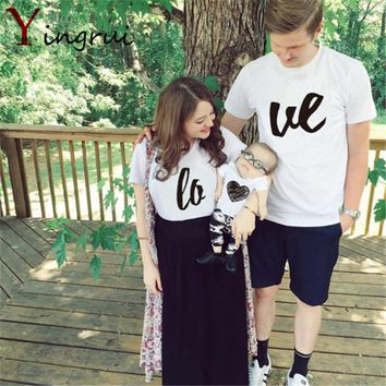 New Fashion Summer Simple Print LOVE Couple T-shirts Lovers Tops Trendy Clothes For Family Women Men Street style Short Tees