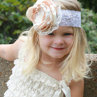 Champagne ivory Satin, Singe  Flowers,Romantic Bridal Hairbands Accesories,Rustic Bridal ,Baby Girl Lace Headband, ChildrenscandyKC