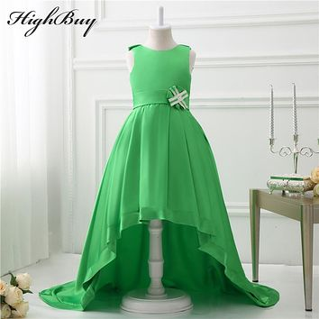 HighBuy Green Girls Pageant Dresses High Low Princess Flower Girls Dresses For Weddings Lovely Kids 2017 Communion Dresses