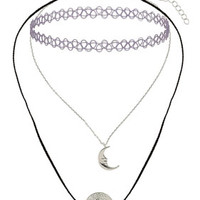 Moon Charm Tattoo Choker Set - Purple