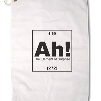 "Ah the Element of Surprise Funny Science Premium Cotton Golf Towel - 16"" x 25 by TooLoud"