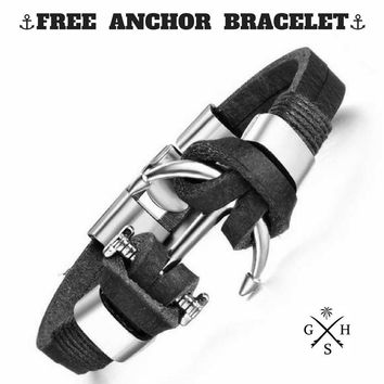 FREE Men's Limited Edition Leather Anchor Bracelet