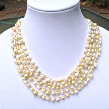 bridal statement pearl crochet necklace - Free shipping