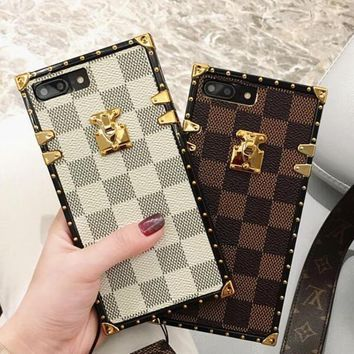 Hot Sale Louis Vuitton LV 2018 !iPhone 7 iPhone 7 plus - Trending Grid Print Cute On Sale Hot Deal Matte Couple Phone Case For iphone 6 6s 6plus 6s plus(3-Color)