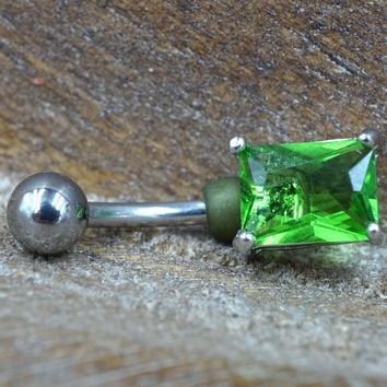 Light Green Square Belly Button Ring