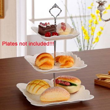 Cake Plate Stand Handle Fitting Hardware Rod Plate holder Gold/Silver Crown shape plate support 3 Tier