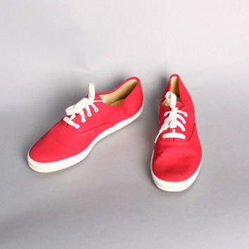 70s KEDS Deadstock SNEAKERS / Red Canvas Women's Low Tops, 10
