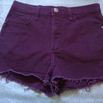 LEE frayed cut off WINE RED high waisted rise women shorts Size 10