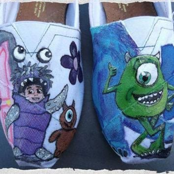 VONET6 Custom Painted Shoes Monsters Inc Boo Mike Sulley TOMS Vans Converse