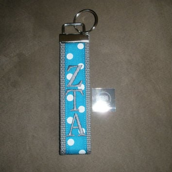 Zeta Tau Alpha Sorority (OFFICIAL LICENSED PRODUCT) Monogrammed Key Fob Keychain Cotton Webbing Ribbon Wristlet