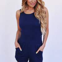 Side Cut Out Romper- Navy