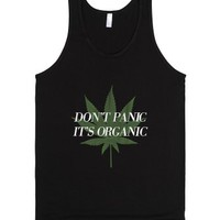 Don't panic it's organic-Unisex Black Tank