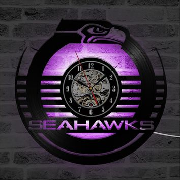 NFL SEATTLE SEAHAWKS Shape LED Record Clock Mute Creative Wall Hanging Clock Room Decor Antique Hollow Artistic Style Round CD