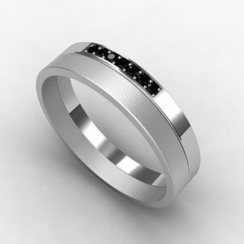 Black Diamond Ring Anium Men Wedding Band Diamon