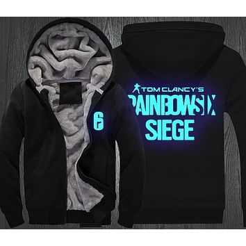 Tom Clancy's Rainbow Six Siege Hoodie Men's Winter Casual Super Warm Thicken Fleece Zip Up Sweatshirt Coat USA EU Size S-3XL