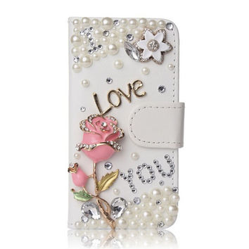 Pink Rose Cover For Samsung Galaxy S6 Edge S7 Note 4 3D Bling Premium Leather Crystal Diamond Rhinestone Flip Wallet Cover Case