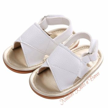 Baby Girls Shoes, Girls White Leather Sandals, Newborn, Infant, Toddler Sized Shoes, Non Slip Baby Shoes