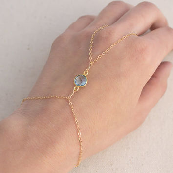 14k Gold Filled Hand Chain Slave Bracelet- Blue Topaz
