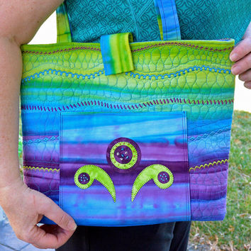 Handmade Quilted Beaded Tote, Large Purse, Carry On Bag in Blue, Green, Purple Batik