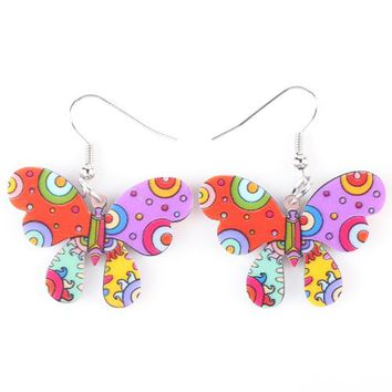Drop Butterfly Earrings Acrylic Long Brand Cartoon Cute New Bijoux Pattern Jewelry Girls Women Earrings Accessories
