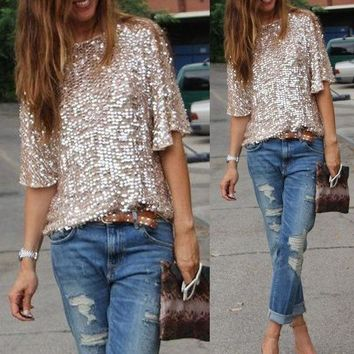 Sequins🌟💓Wear With Jeans For a Trendy Sexy Look🎀