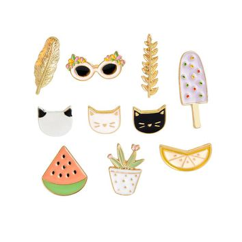 Cute Pastel Hipster Cat Plants Fruit Summer Mix Enamel Lapel Pins 10/Pc Lot