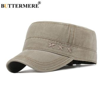 BUTTERMERE Men Military Caps Coffee Cotton Casual Captains Hats Women Adjustable Vintage Army Cap Male Summer Flat Top Hat Man