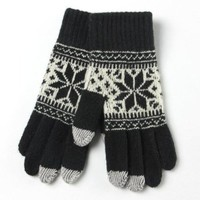 Warmen Women's Touch Screen Wool Winter Gloves Mittens for Ipad Iphone Smart Phone (Black)