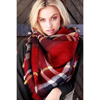 Plaid Oversized Blanket Scarf in Red or Black