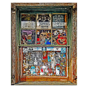 New Orleans French Quarter Voodoo Shop Window Giclee Print 8x10 11x14 16x20 - Reverend Zombies Window - Korpita