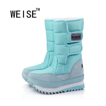 WEISE Free Shipping 2016 Popular Snow Boots For Women Flat Heel 9 Colors Plus Size Women Winter Boots Waterproof