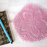Pink crochet doily, flower lace placemat, crochet table decoration, cotton table top, pentagon, summer decor, housewarming gift
