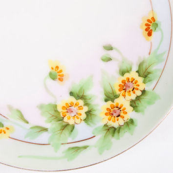 Vintage Nippon Floral Plate Hand Painted Meito China Yellow Flowers Early Green Crown Stamp