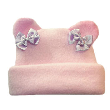 Jacqui's Baby Girls' Pink Fleece Hat with Camo Ears
