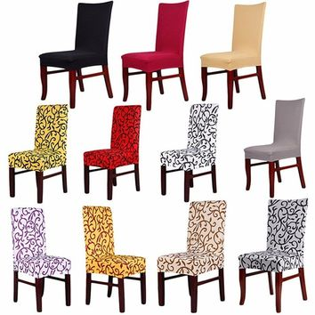 New Arrival Rhombic Paddy Stretch Slipcover Dining Room Wedding Party Short Chair Seat Cover (Color: Black)
