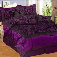 NEW 7PC FAUX SILK FLOCKING PURPLE BLACK ZEBRA PRINT QUEEN SIZE COMFORTER SET